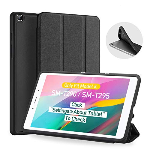 Case for Samsung Galaxy Tab A 8.0 (2019) T290 /T295, DUX DUCIS Slim Flexible Soft TPU Back Folio Protective Case with Trifold Stand Cover for Samsung Galaxy Tab A 8.0 Inch 2019 (Black)