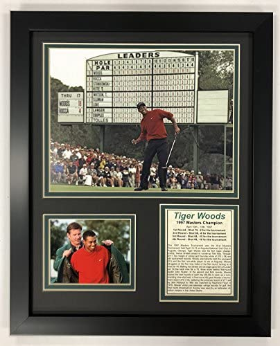 Legends Never Die PGA Tiger Woods 1997 Masters Champion Framed Double Matted Photos 12 x 15 product image