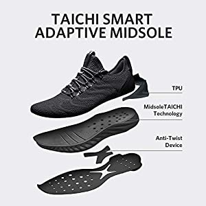 PEAK Mens Comfortable Running Shoes Taichi King Adaptive Smart Cushioning Supportive Training Sneakers for Walking, Tennis, Fitness, Gym Black