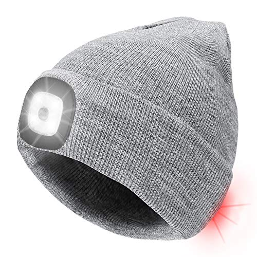 Number-one LED Beanie Hat USB Rechargeable 8 LEDLightHat Winter Warm Knitted Beanie for Men and Women, Hand Free Front and Rear lighting Headlamp Cap for Camping, Running, Cycling, Skiing (Gray)