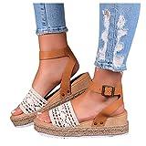 Dasongff - Sandalias de verano para mujer, elegantes, de malla, con cuña, con hebilla, cómodas, para el tiempo libre y el verano, color Beige, talla 39 EU