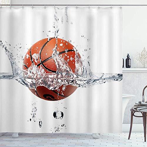 DYCBNESS Cortina de Ducha,Baloncesto sumergirse en el Agua Deportes creativos,Material Resistente al Agua Durable Estampa Digital Cortina de Baño Impermeable,180 x 180 cm