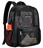 Heavy Duty Semi-Transparent Mesh Backpack, See Through College Student Backpack for Commuting, Swimming, Travel, Beach, Outdoor Sports