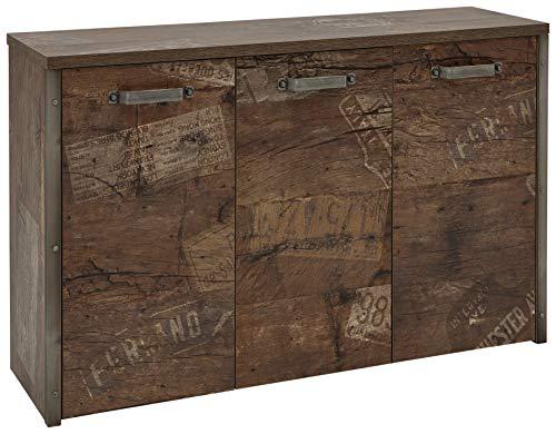 Schildmeyer Kommode Chicago mit drei gedämpften Türen, Melaminharzbeschichtete Spanplatte, Panama Eiche, 33.6 x 116.1 x 73.7 cm
