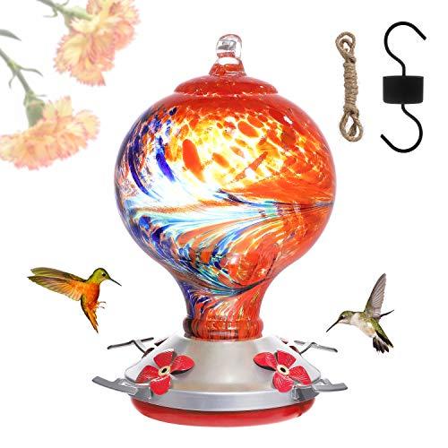 Asslen Comedero de colibrí – vidrio soplado a mano, color verde, 38 onzas líquidas, capacidad de néctar con gancho, cuerda de cáñamo, cepillo para exteriores más pájaros