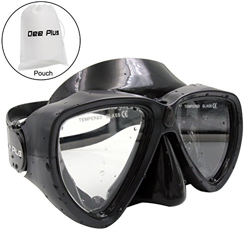 Dee Plus Taucherbrille Profi Schnorchelbrille Anti-Fog Schwimmbrille aus Gehärtetem Glas für Kinder, Jugendliche Unisex Tauchen Schnorcheln Maske Schwarz |mit Wasserdicht Beutel