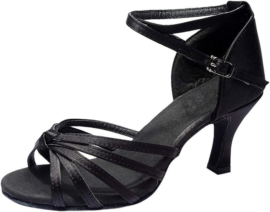 Pzhhzpingg Heel Dance Shoes for Women Open Toe Summer Fashion Ballroom Party Latin Tango Salsa Dance Shoes Girls Dance Sandals