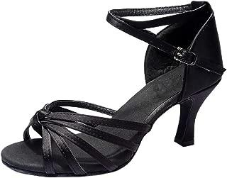 Fuibo Party Schuhe Damen Mädchen Latin Dance Schuhe Med-Heels Satin Schuhe Party Tango Salsa Dance Schuhe Brautschuhe Freizeitschuhe Tanzschuhe Sandalette