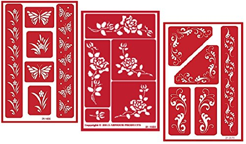 3 Armour Etch Over N Over Reusable Glass Etching Stencils Set | Butterfly, Fleur De Lis, Rose