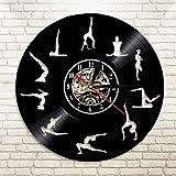 Yoga Pose Mantener el Equilibrio Disco de Vinilo Movimiento Reloj de Pared Mandala Zen Arte de Pared...
