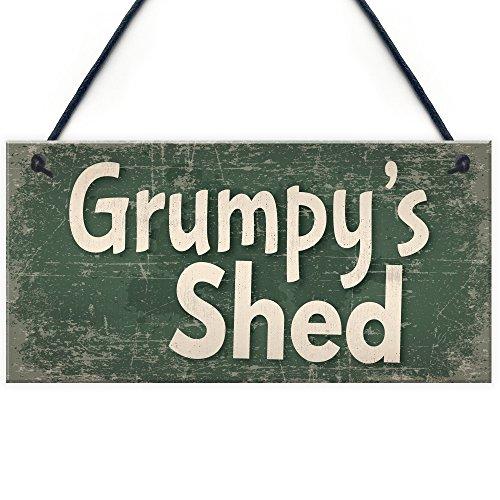 RED OCEAN Shed Signs Grumpy's Shed House Door Plaque Garden SummerHouse Sign Gifts For Dad