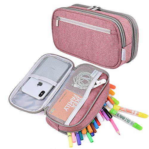 Pencil Case, Big Capacity Pen Case Pencil Bag Pouch Pen Pencil Marker Holder Stationery Desk Organizer with Zipper Large Storage for Boys Girls Students School and Office (Pink)