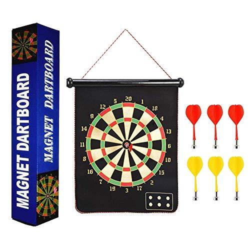 Darts Dartscheibe Board,Magnetische Dartboard Mit 6 Umschaltbaren Pfeilen ein, die Zweiseitiges Magnetisches Dartscheibe-Bullseye-Spiel für Kinder Familien Freizeit Sport rollen (Black, 17 inches)