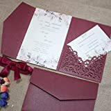 25pcs 5'x7.28' Burgundy Pearl Paper Vine Tri Fold Wedding Invitations Cards pocket Laser Cut Hollow Carving Greeting invites Covers only no envelope no insert