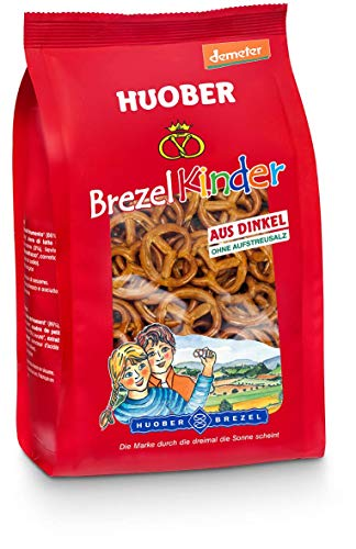 Huober Bio BrezelKinder, kleine Brezeln aus biologisch-dynamisch angebautem Dinkel, ohne Aufstreusalz, ohne Palmfett, demeter, 125 g