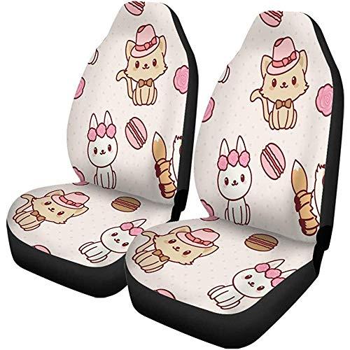 Autostoelhoezen Mooie Kawaii dierpatroon Macaroon Cat Bunny Nizza konijnset van 2 autoaccessoires beschermers Car Decor Fit