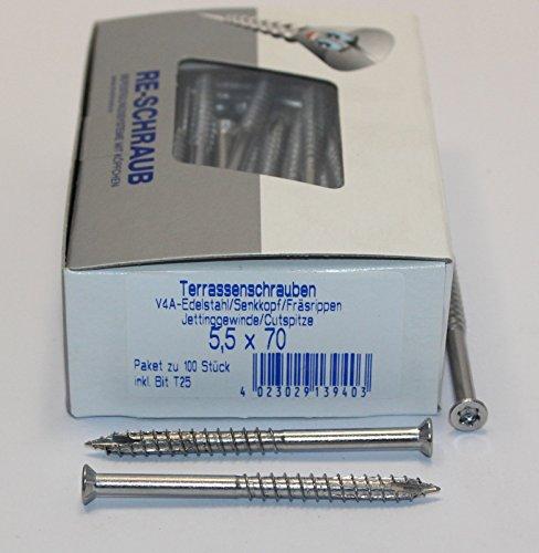 RE-SCHRAUB 5,5 x 70 mm Edelstahl A4 Torx TX 25 Terrassenschrauben rostfrei V4A von 100 - 1000 Stück wählbar (1000)