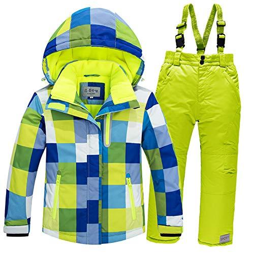 LSERVER Jungen und Mädchen Winddicht wasserdicht gepolsterten Skianzug zweiteilig Skijacke + Skihose, Blaues Top + Fluoreszierende grüne Hose, 104/110(Fabrikgröße: 110 cm)