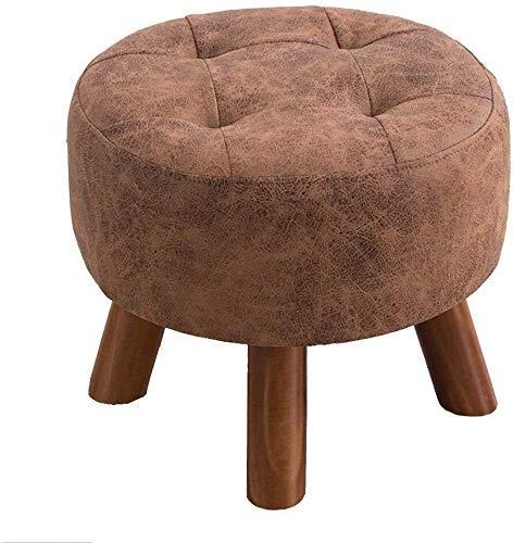 FWZJ Banco de zapatos con 4 patas de madera maciza, relleno de esponja de moda, taburete de sofá, taburete de madera (tamaño redondo)