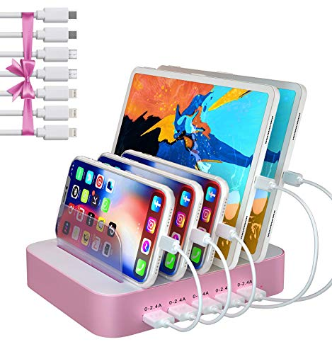 Charging Station for Multiple Devices, 5 Port USB Charging Station with 7 Short Mixed Cables, Compatible with iPhone, iPad, Cell Phone, Tablets, and Other Electronics, Pink