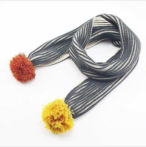 Sportinggoods herfst en winter gestreepte kindersjaal gestreepte dubbelzijdige driedimensionale wollen bolletjes jongens en meisjes gebreide sjaal