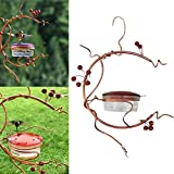 Asionper Hummingbird Feeder Metal Hanging Hummingbird Feeder with Vine Perch and Red Berries Fruit Berry Bird Feeder Handmade Hanging Bird Feeder for Outdoor Garden Decorative
