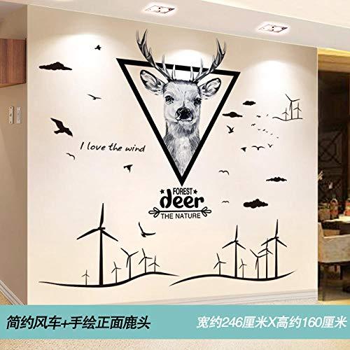 3D Stereo Wandaufkleber Sticker Tapete personalisierte dekorative Wandaufkleber @ 22. Einfache Windmühle + handbemalter Hirschkopf_Extra groß