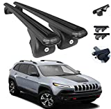 Roof Rack Cross Bars Lockable Luggage Carrier Fits Jeep Cherokee 2014-2021 | Aluminum Black Cargo Carrier Rooftop Luggage Bars 2 Pcs. | Automotive Exterior Accessories