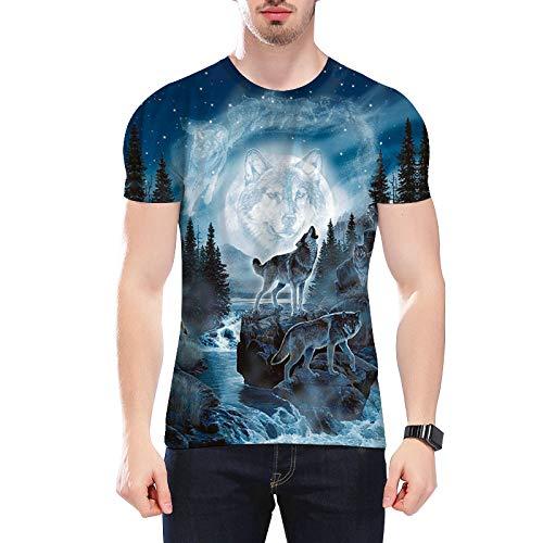 YUANOMYD Unisexe 3D Imprimé T-Shirt,River Mountain Peak Snow Wolf Animal Pattern T-Shirt Ras du Cou À Manches Courtes pour Hommes Womens Button Down Aloha Shirt, M