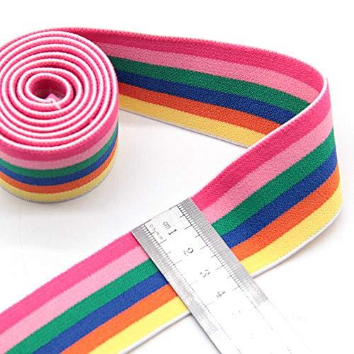 Elastische Bänder 4cm 5cm Nylon-bunte Streifen-Webbing Taillen-Band-Gummi 40mm DIY Fertigkeit-Versorgung für Bag Rock-Hosen Decortion 1Meter, YEORBUGRPK4cm