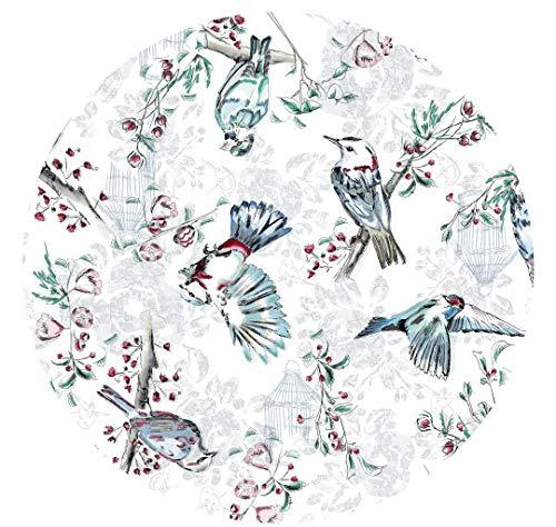 DecoHomeTextil Wachstuchtischdecke Wachstuch Tischdecke Gartentischdecke Rund Oval Paradies Vogel Anthrazit Oval ca. 140 x 180 cm abwaschbare Wachstischdecke