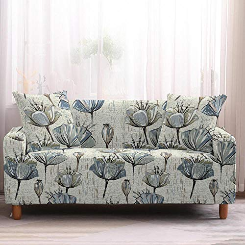 Alayth Funda de sofá elástica en forma de L para sofá de 1 a 4 plazas, diseño de flores, funda para sofá, toalla de muebles, sillones protectores, 1 plaza, color 1