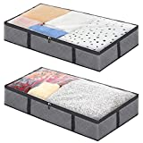 Zunii Foldable Underbed Storage Bags - 2 Pack - Breathable and Extra High Capacity with Clear Top Window and Reinforced Handles - Perfect for Blankets, Comforters, Clothes Storage