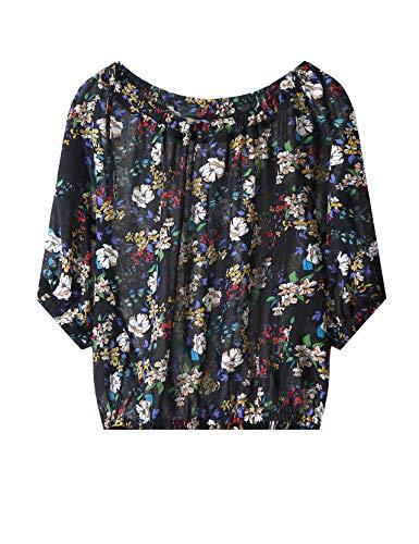 Elf zak dames schoudervrij blouse zomer gebloemd vleermuismouwen One Shoulder bovenstuk tops