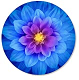 IMAYONDIA Mouse Pad, Blue Watercolor Lotus Flower Round Mouse Pad, Non-Slip Rubber Base Mousepad for Laptop Computer, Personalized Small Mousepad with Designs for Women, 7.9 x 7.9 Inch