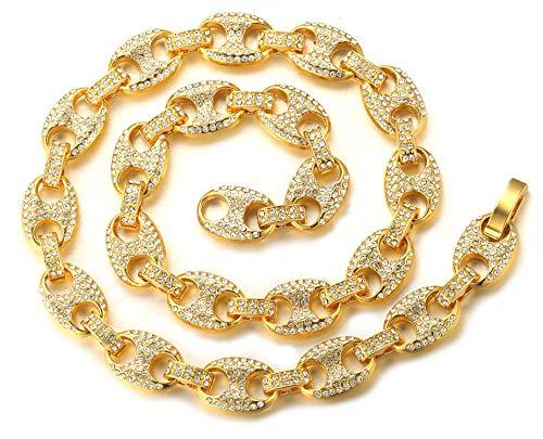 Halukakah Goldkette Herren Iced Out,18 Karat Echt Gold Vergoldete Männer Choker Kette,Goldenes,Miami Kaffeebohnenkette,90cm,Geschenk für Mann