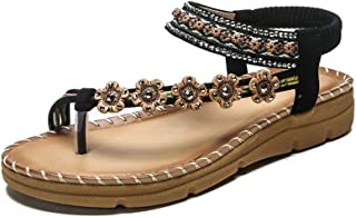 Womens Summer Flat Sandals Beach Clip Non-Slip Sandals Casual Feet Correct Flat Sole Sandal Bohemian Peep Toe Beaded Strap Sandals Rhinestone Sandals,Black,39