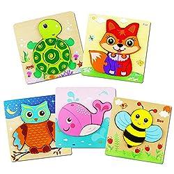 Cypin 3D Tier Holzpuzzle für Kinder,5 Stück Holz Puzzle Montessori Spielzeug Tiere Spielen Holzspielzeug Lernspielzeug Pädagogisches Geschenk für Kleinkinder, Weihnachten und Geburtstag