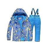 TIANYOU Traje de Esquí para Niños Traje de Nieve Cálido de Invierno Chaqueta de Esquí Cálido con Cierre de Cremallera Bolsillo Impermeable Resistente Al Viento Conjunto de Pantaló