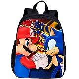 XINKANG el Erizo Sonic Dibujos Animados en 3D Mario VS Sonic Mini Mochila Escolar para niños de jardín de Infantes Mochila Escolar Niñas Niños Mochilas Niños Mochila