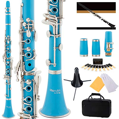 Mendini by Cecilio B Flat Beginner Student Clarinet with 2 Barrels, Case, Stand, Book, 10 Reeds, Mouthpiece and Warranty (Sky Blue)