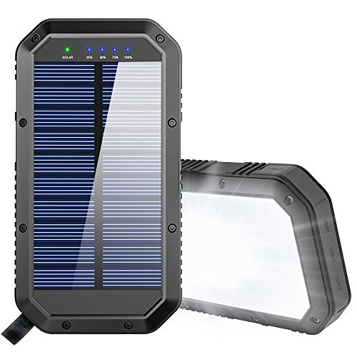 Solar Charger, 25000mAh Battery Solar Power Bank Portable Panel Charger with 36 LEDs and 3 USB Output Ports External Backup Battery for Camping...