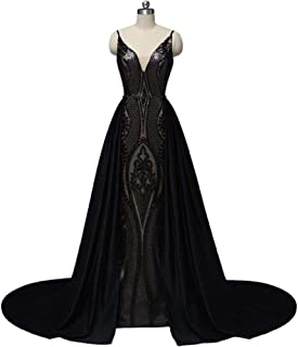 Black Dresses for Women, Sequin Evening Dress Long Black Dresses for Women, Saudi Arabian Muslim Prom Dresses Black Womens Dress for Christmas Costumes Sexy Dress Christmas Costume Ball Gown