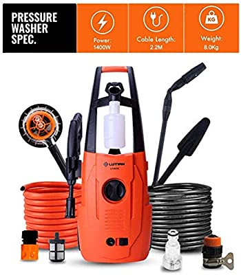 Indoor and Outdoor Cleaning Tools Mop Garden 1400W Pressure Washer with Accessories Ndash; Outdoor Home/Patio Car Cleaner - 80Bar-110Bar Working Pressure, 220V/50Hz Voltage. dljyy by dljxx