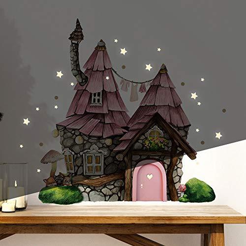 Elfentür Wichteltür Feentür Wandtattoo Elfenhäuschen mit Tieren auf Mooshügel im Wald + Leuchtsticker e37 - ausgewählte Farbe: *rosa Holztür*