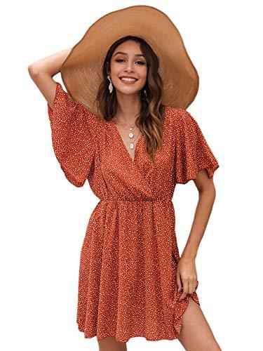 Romwe Women's Short Sleeve V Neck All Over Print High Waist A Line Summer Short Dress Burnt Orange M