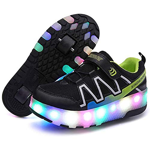 Automática de Skate Zapatillas,Zapatos de Skate con Ruedas,Led Luces USB Cargable Rueda Delantera Desmontable Empeine de Malla Transpirable Running Zapatillas,Niños Niña Deportes Exterior,Negro,36