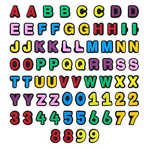 Charms per scarpe con lettere numeriche in PVC colorato per scarpe, braccialetto fai da te, numero 0-9, lettera A-Z e Nessun tipo di metallo, colore: Multicolore