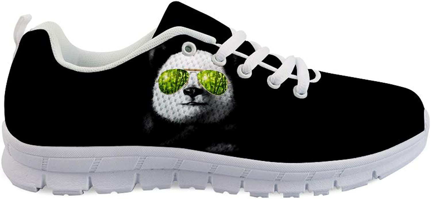 Owaheson Lace-up Sneaker Training shoes Mens Womens Stylish Bamboo Sunglasses Panda Bear
