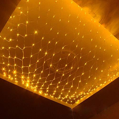 1.5 * 1.5M 96LEDs Luces De Red De Hadas Navideñas Amarillas, Cortina Halloween Interior Cadena LED Gazebos De Jardín Al Aire Libre Fiesta De Bodas Iluminación Impermeable Decoración 8 Modos